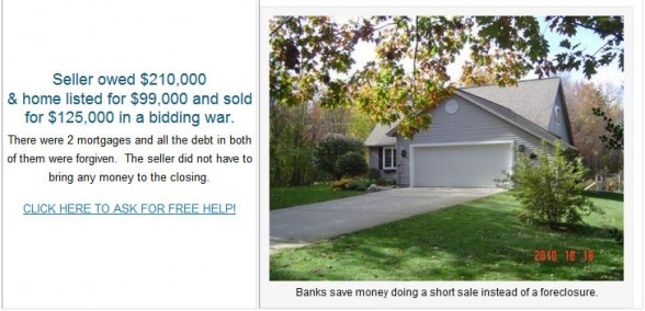 Picture of house where Short Sale-Seller was freed from 210000 debt