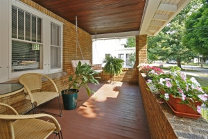 Wonderful covered porch on a Kalamazoo home for sale