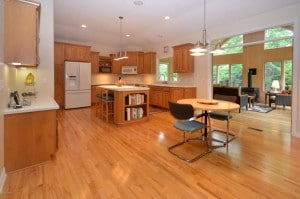 Picture of well appointed kitchen at 6544 Hollison which is wide and open to accommodate wheelchairs.